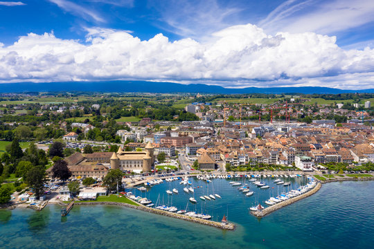 Aerial view of Morges castle in the border of the Leman Lake in  Switzerland