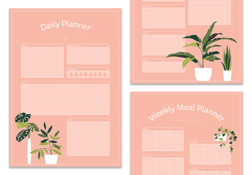 Pink Planner Set with Plant Illustrations