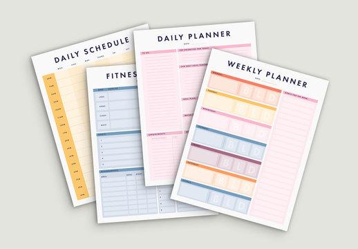 Multicolored Planner Set
