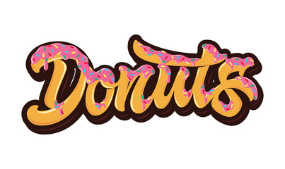 The bright orange word Donuts poured pink caramel with multi-colored sprinkles on top. Concept for logo, card, typography, poster, print.