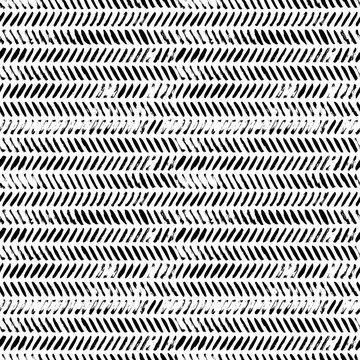 Brush strokes grunge zig zag seamless pattern. Vector chevron and herringbone fabric ornament.