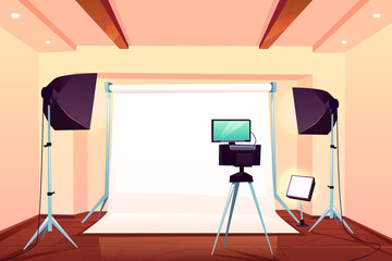 Photo or video studio workshop equipped with modern professional light equipment, camera, external monitor on tripod, flashes in softboxes on stands and white background cartoon vector illustration