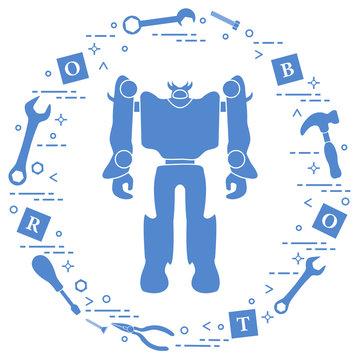 Robot, cubes, screwdriver, wrench, screw, hammer.