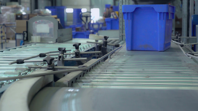 blue container moving on conveyor. Automatic sorting before delivery.