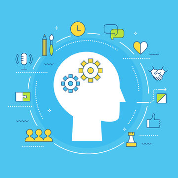 Soft Skills and Multiple Intelligences Concept Illustration. Flat Vector Design