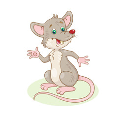 Funny  grey rat. In cartoon style. Isolated on white background.