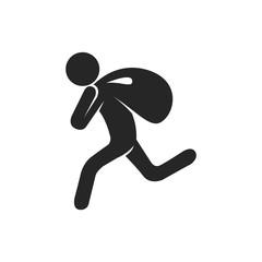 Burglar icon in black and white. Vector illustration.