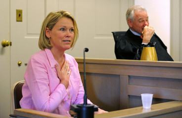Heather Unruh testifies at a hearing in Nantucket District Court