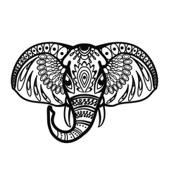 The head of an elephant with patterns