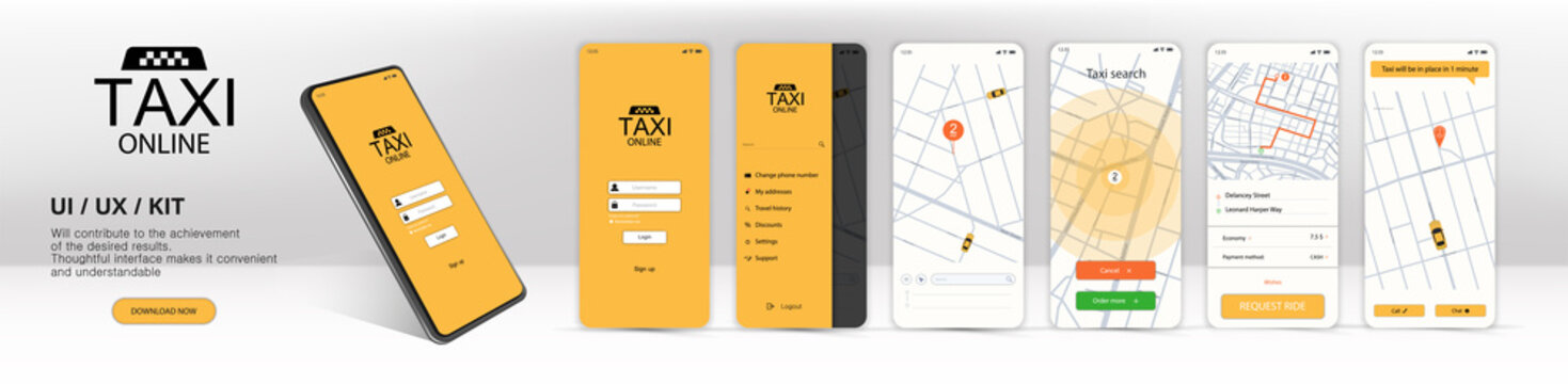 Call a taxi online, mobile application. UI, UX, KIT Application. Online mobile application order taxi service in flat style. GUI screens including sign In, cab booking, map navigation. Finished app