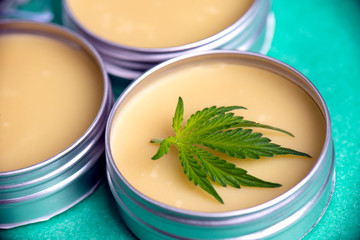Cannabis salve with hemp and CBD oil on green background