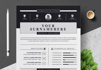 Resume and Cover Letter Layout with Black Header