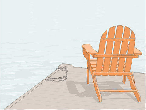 Hand drawn illustration. An Adirondack chair sitting on a dock by a lake. Concept of a peaceful, relaxing vacation.