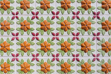 Portuguese porcelain ceramic tiles for walls. Close up