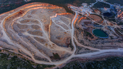 Aerial. Big stone quarry aerial view. Loule Portugal.