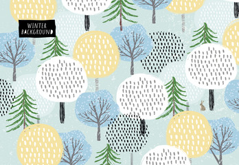 Cute vector pattern of winter trees, spruce and snow. Background for the holidays of the new year and Christmas. Drawn by hand forest