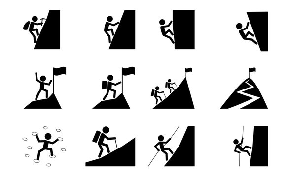 Set of Hiking and climbing icon, vector art