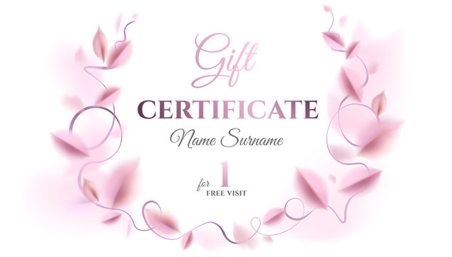 Gift certificate vector template design. Abstract creative floral background with pink leaves and silver color rich elegant decoration