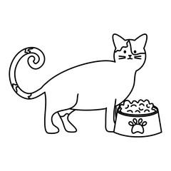Papiers peints Le vous même cute cat mascot with dish food