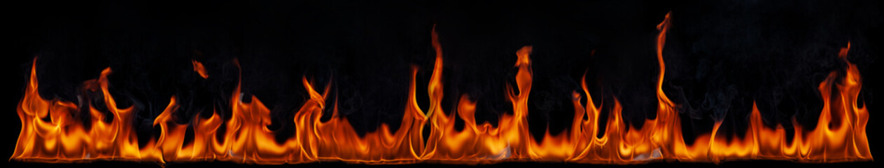 Texture of fire on a black background. Fototapete