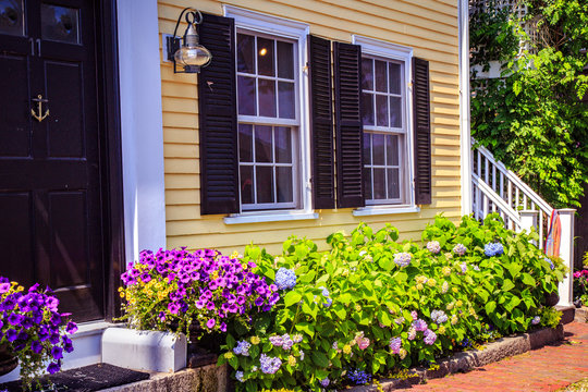 Nice traditional houses during summer time, Rockport, Massachusetts, USA