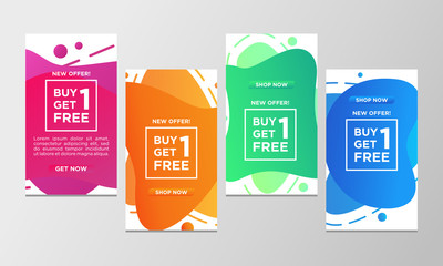 Coupon discount buy one get one free sale banner set. Modern liquid design template colorful special offer. Can use for social media promotion, flyer, web, mobile app and ready to print.