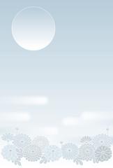 菊の弔事イメージのベクター背景素材
