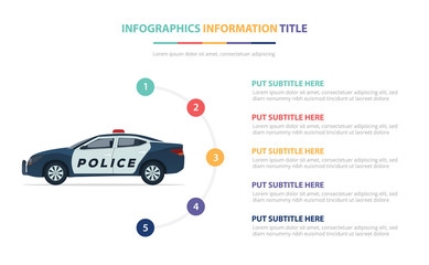 police car infographic template concept with five points list and various color with clean modern white background - vector