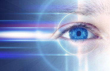 The eyes of a man on a bright abstract background with holograms