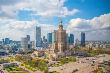 Fotomurales - Aerial photo of  Warsaw city skyline