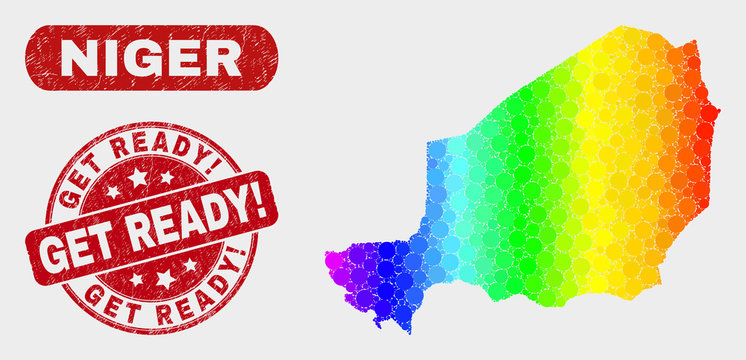 Spectrum dotted Niger map and watermarks. Red round Get Ready! scratched seal stamp. Gradiented spectrum Niger map mosaic of random round elements. Get Ready! stamp with rubber texture.