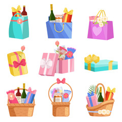 Holiday Presents Set, Paper Shopping Bags, Baskets and Boxes Full of Gifts, Design Elements for Birthday, Xmas, Wedding, Anniversary Celebration Vector Illustration