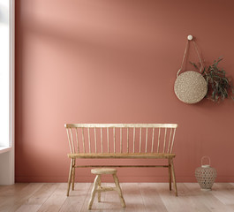 Mock-up wall in living room background, 3d render