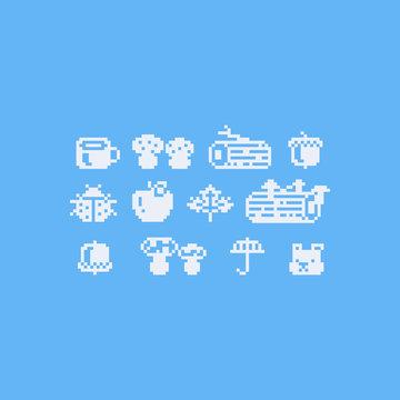 Pixel art autumn icon set.8bit.