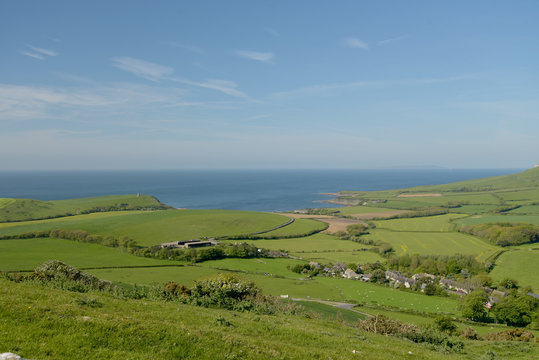 View from Swyre Head ridge over Kimmeridge Bay on the Dorset coast