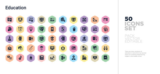 50 education vector icons set in a colorful hexagon buttons