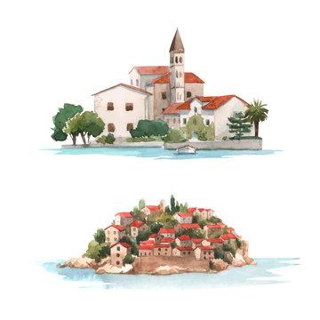 Watercolor montenegro vector illustration