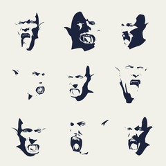 Fantasy head of orc with open mouth. Silhouettes with negative emotions