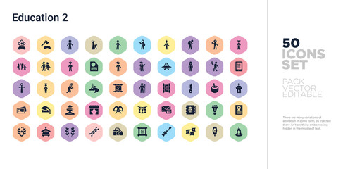 50 education 2 vector icons set in a colorful hexagon buttons