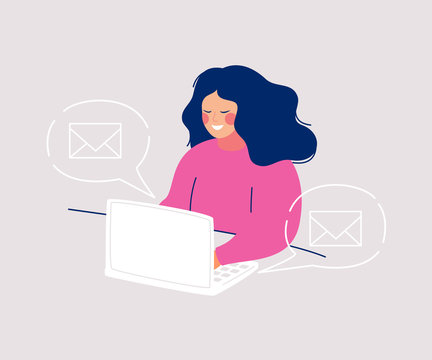 Smiling woman sitting at computer writing messages and icons envelopes floating in speech bubbles around her. Concept for e-mail marketing, business correspondence. Flat cartoon vector illustration.