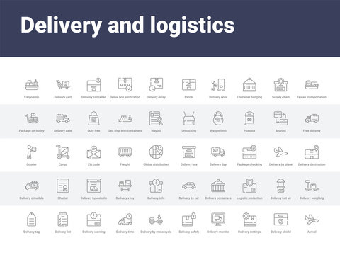 50 delivery and logistics set icons such as arrival, delivery shield, delivery settings, monitor, safety, by motorcycle, time, warning, list. simple modern vector icons can be use for web mobile