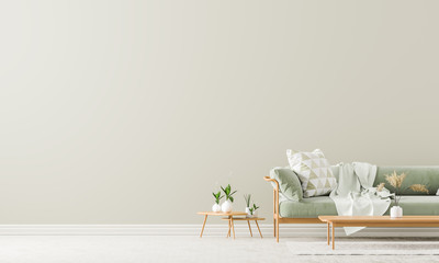 Scandinavian style interior with sofa and coffe table. Empty wall mock up in minimalist interior with pastel colors. 3D illustration. Wall mural