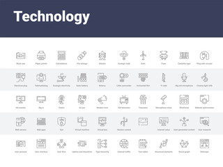 50 technology set icons such as sitemaps, social graph, structural elements, text editor, internet traffic, type hierarchy, uptime and downtime, user flow, user interface. simple modern vector icons