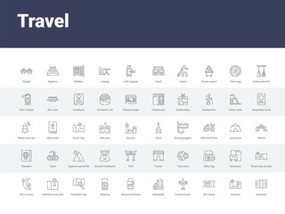 50 travel set icons such as brochure, itinerary, bus ticket, control tower, waterpark, secure briefcase, sleeping, unfolded map, unfolded map with location mark. simple modern vector icons can be