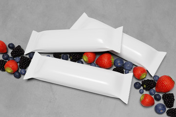 Mock up of a cereal bar packaging on a concrete background with red fruits  - 3d rendering