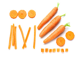 Pieces with carrot on white background