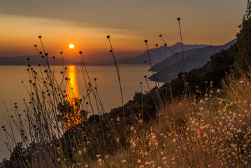 Poster Marron chocolat Beautiful sunset in Dingac Borak, Dalmatia, Croatia, Peljesac peninsula
