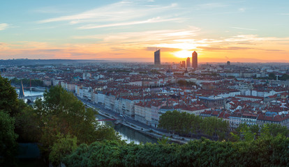 Towers of Part-Dieu, Lyon, during a summer sunrise.
