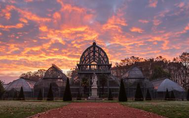 Dawn at the famous greenhouse in park of the golden head (Parc de la Tete D' Or) in Lyon. Lyon, France