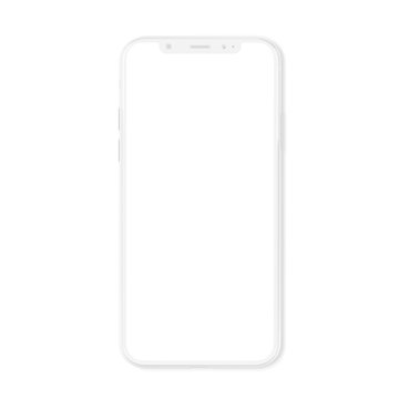 White modern smartphone mockup isolated on white 3D rendering